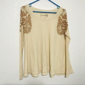 Free People waffle knit long sleeve